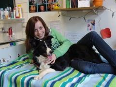 Mädchen mit Therapiehund im Bett