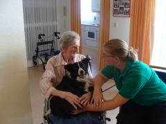 Therapiehund mit Seniorin
